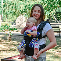 Эрго рюкзак Малышастик Світ навколо 4в1 черный Котики