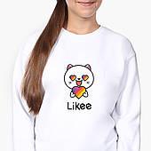 Свитшот для девочки Лайк Котик (Likee Cat) (9509-1036-8) Белый