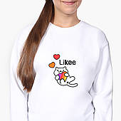 Свитшот для девочки Лайк Котик (Likee Cat) (9509-1039-8) Белый