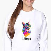 Свитшот для девочки Лайк Котик (Likee Cat) (9509-1040-8) Белый