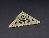 Уголок для шкатулок накладной бронза 40х40мм, фото 2