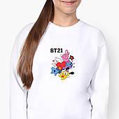 Свитшот для девочки БТС (BTS) (9509-1166-8) Белый
