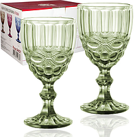 Набор цветных бокалов для вина Винтаж Изумруд 340мл 6шт