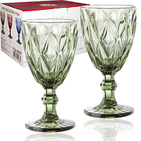 Набор цветных бокалов для вина Грани Изумруд 320мл 6шт