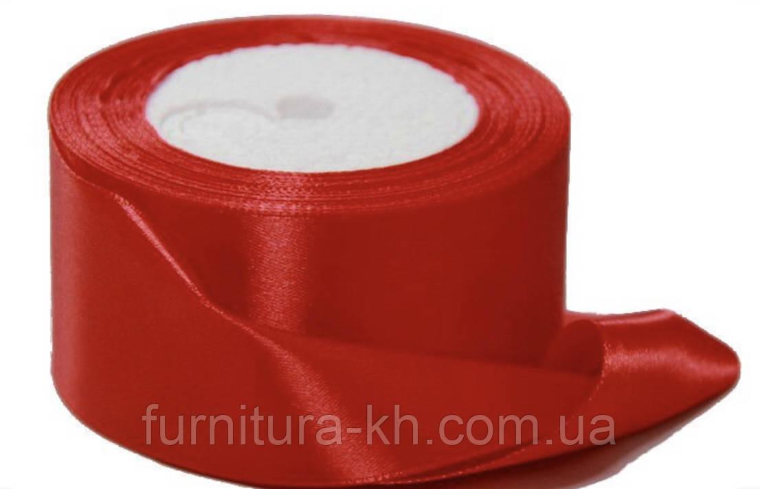 Лента атласная,ширина 5 см  (33 м )  цвет красный