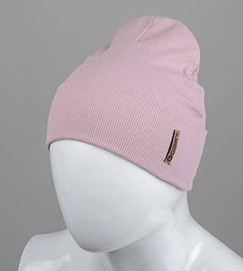 Трикотажная шапка оптом 100% Хлопок FERO, Пудра