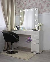 Стол для визажиста с ящиками и зеркалом с лампами, цвет - белый