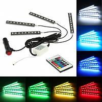 Цветная подсветка для авто, влагозащитная Led подсветка для салона автомобиля, цветомузыка RGB (Фото Вживую)