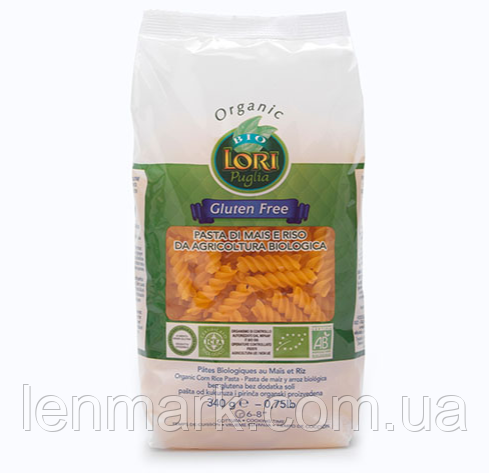 Макароны кукурузно-рисовыe без глютена Lori Puglia bio Organic Fusilli di mais e riso  340 г (Италия)