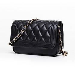 Мини сумка клатч женская, Мини сумка на плечо, Сумка из кожзама Черная  AL-6085-10