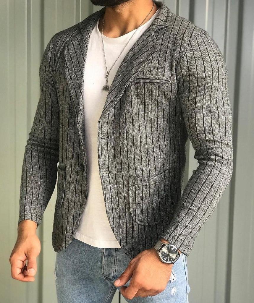 Мужской пиджак классический приталенный серый в полоску Турция. Живое фото (клубный пиджак мужской)