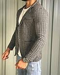 Мужской пиджак классический приталенный серый в полоску Турция. Живое фото (клубный пиджак мужской), фото 2
