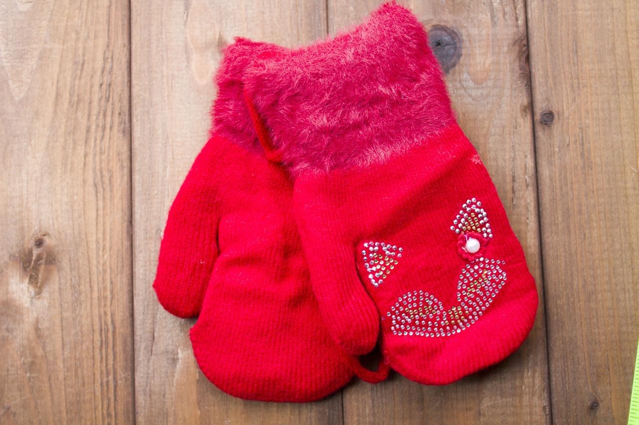 Детские варежки утепленные красные  0074-2