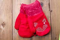 Детские варежки утепленные красные  0074-2, фото 1