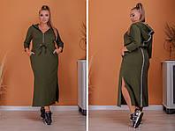 Женское длинное платье спортивного фасона двухнитка размер:50-52,54-56,58-60,62-64