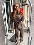 Жіночий в'язаний костюм з широкими штанами. светр з поясом (в кольорах), фото 2