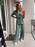 Жіночий в'язаний костюм з широкими штанами. светр з поясом (в кольорах), фото 6