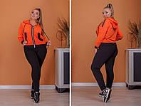 Спортивный костюм трикотаж двухнитка кофта на молнии и штаны батал:50-52, 54-56, 58-60, 62-64, фото 1