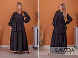 Женское платье длинное свободного фасона длинный рукав батал размер:50-52,54-56,58-60,62-64, фото 2