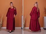 Женское платье длинное свободного фасона длинный рукав батал размер:50-52,54-56,58-60,62-64, фото 3