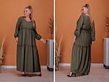 Женское платье длинное свободного фасона длинный рукав батал размер:50-52,54-56,58-60,62-64, фото 5