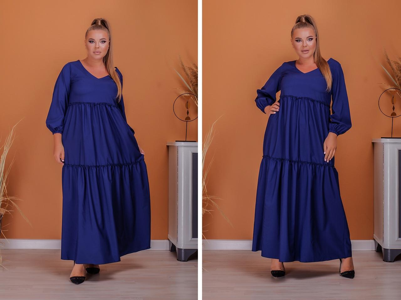 Женское платье длинное свободного фасона длинный рукав батал размер:50-52,54-56,58-60,62-64