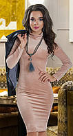 Стильное красивое шикарное модное вельветовое платье-гольф № 13996