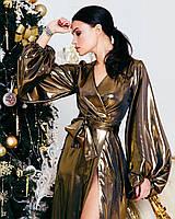 Платье женское нарядное на запах AniTi 611, золото