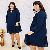 Платье свободного фасона длинный рукав креп-шифон на подкладке размер: 50-52, 54-56, 58-60, 62-64, фото 5