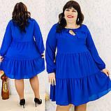 Платье свободного фасона длинный рукав креп-шифон на подкладке размер: 50-52, 54-56, 58-60, 62-64, фото 6