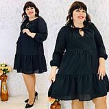 Платье свободного фасона длинный рукав креп-шифон на подкладке размер: 50-52, 54-56, 58-60, 62-64, фото 7