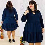 Платье свободного фасона длинный рукав креп-шифон на подкладке размер: 50-52, 54-56, 58-60, 62-64, фото 8