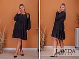 Платье свободного фасона длинный рукав креп-шифон на подкладке размер: 50-52, 54-56, 58-60, 62-64, фото 4
