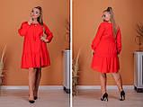 Платье свободного фасона длинный рукав креп-шифон на подкладке размер: 50-52, 54-56, 58-60, 62-64, фото 2