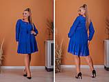 Платье свободного фасона длинный рукав креп-шифон на подкладке размер: 50-52, 54-56, 58-60, 62-64, фото 3