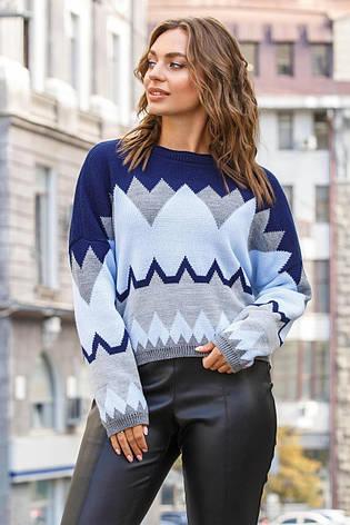 Яркий синий женский свитер, фото 2