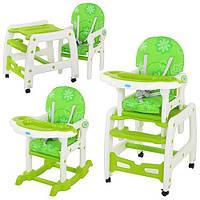 Детский стульчик для кормления M 1563-5 бело-зеленый