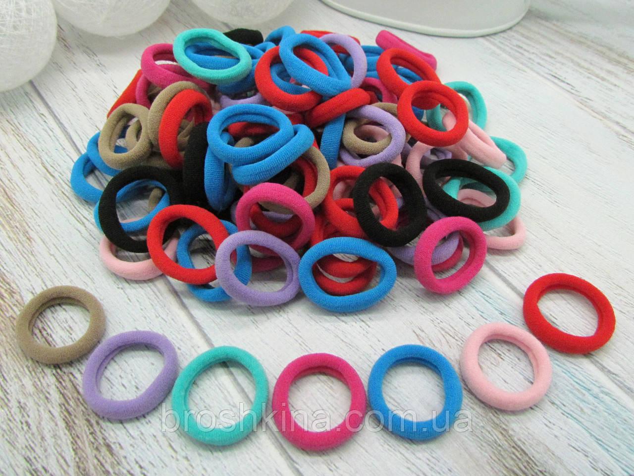 Резинки для волос микрофибра Ø2.5 см цветные 100 шт/уп