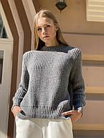Базовий жіночий в'язаний светр oversize з напівшерсті сірий