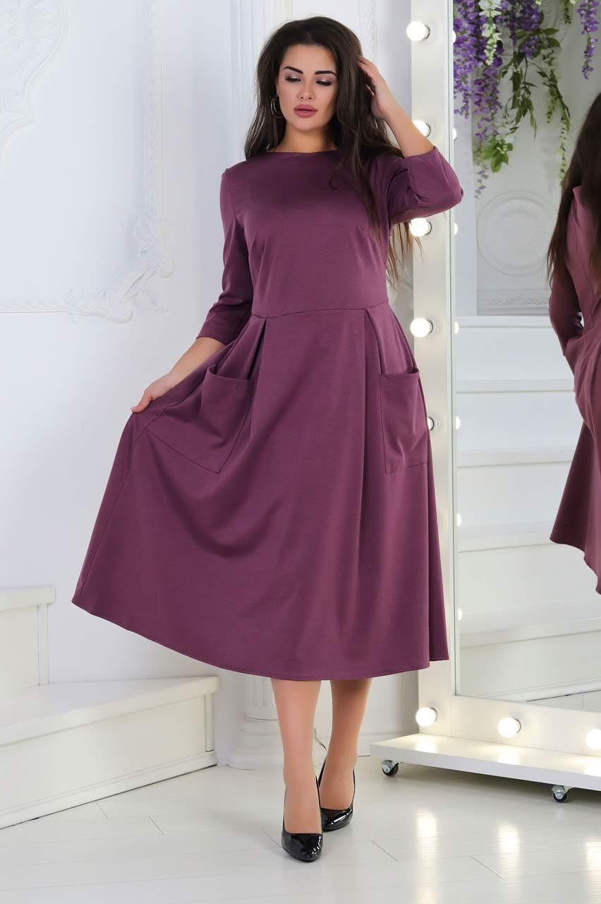 Женское платье батал, трикотаж Алекс, р-р 50; 52; 54; 56 (марсала)