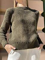 Базовий жіночий в'язаний светр oversize з напівшерсті хакі