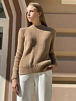 Базовый вязаный  женский свитер  oversize   из полушерсти бежевый, фото 1