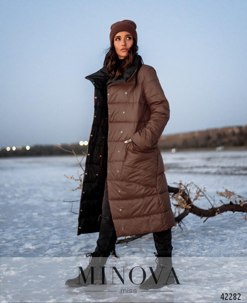 Двусторонняя куртка женская на кнопках, цвет капучино-чёрный, размеры  от 44 до 50