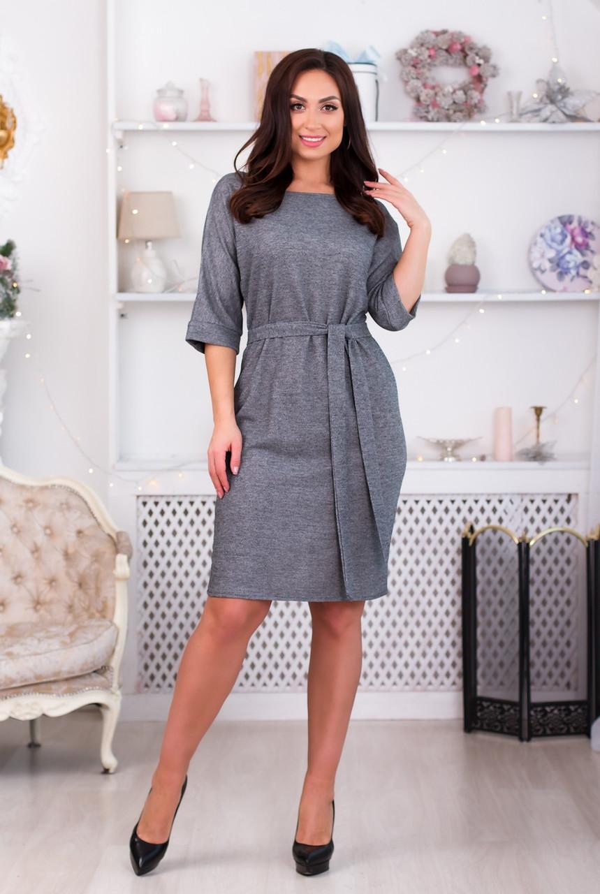 Женское платье батал, трикотаж - петля, р-р 50; 52; 54; 56 (тёмно-серий)