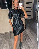 Платье из экокожи однотонное женское ЧЕРНОЕ (ПОШТУЧНО), фото 1