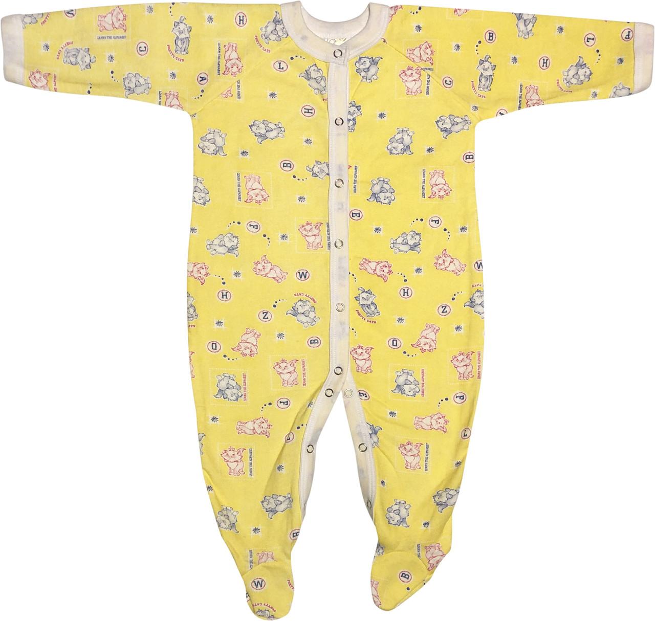Теплий чоловічок з начосом для новонароджених ріст 74 6-9 міс на хлопчика дівчинку сліп бавовна футер жовтий