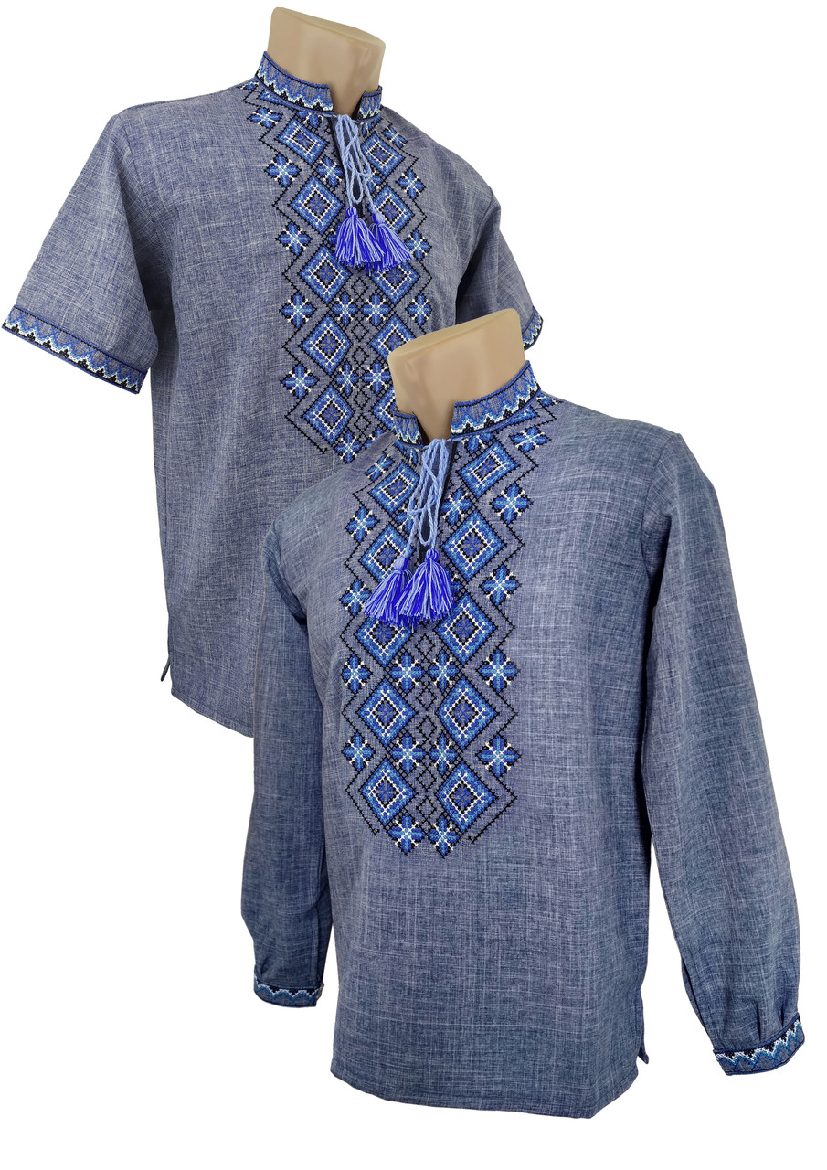 Джинсова дитяча підліткова вишиванка для хлопчика на довгий та короткий рукав