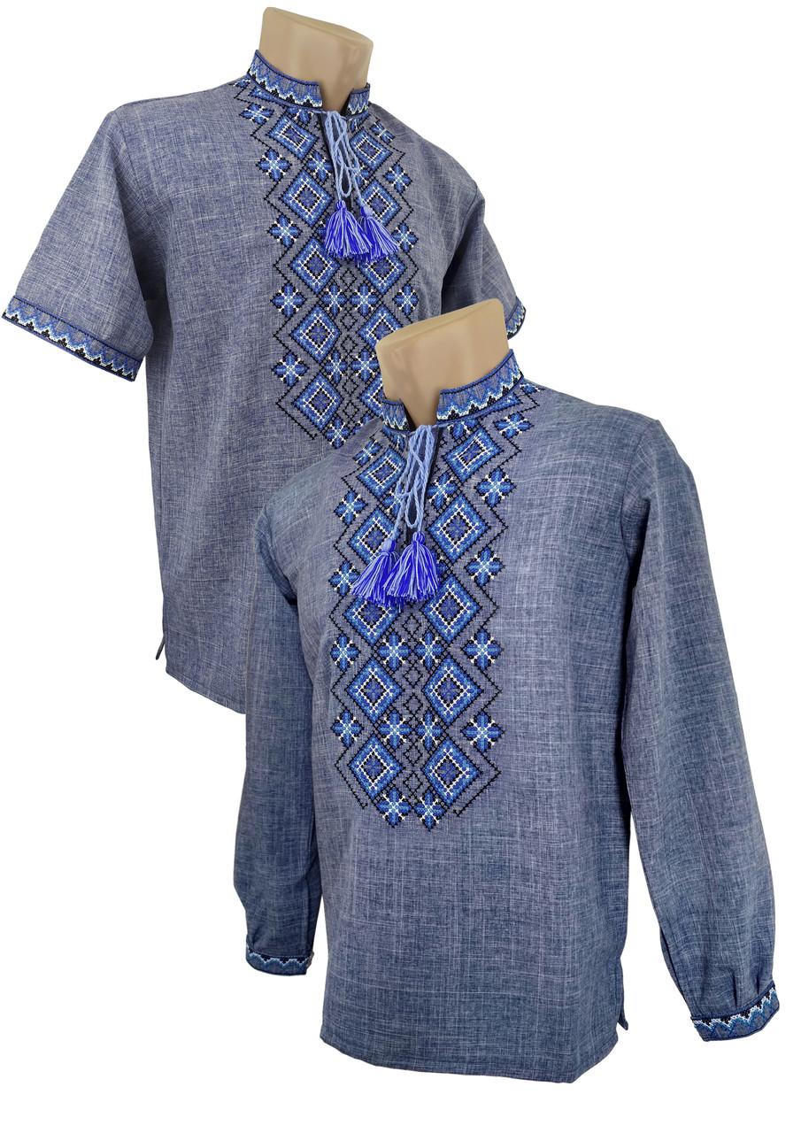 Джинсовая детская подростковая вышиванка для мальчика на долгий и короткий рукав