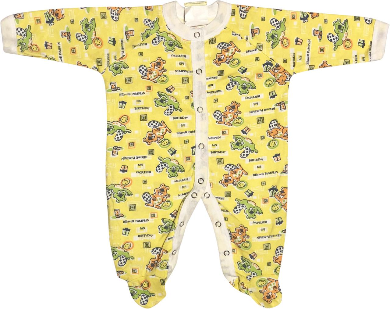 Детский тёплый человечек с начёсом рост 68 3-6 мес хлопковый футер жёлтый на мальчика девочку слип для новорожденных малышей Ж190