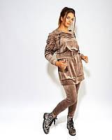 Женский велюровый костюм туника и лосины размер: 44-46, 48-50, 52-54, 56, фото 1